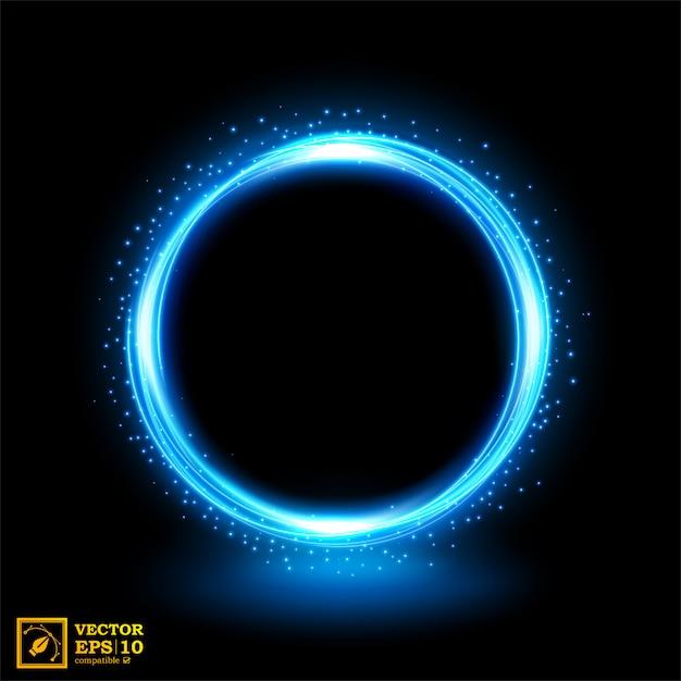 青い火花と光の抽象的な青い線。 Premiumベクター