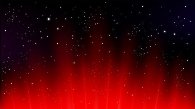 暗い背景に赤い光線が上がる Premiumベクター