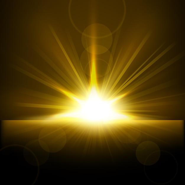 地平線から立ち上がる黄金の光 Premiumベクター