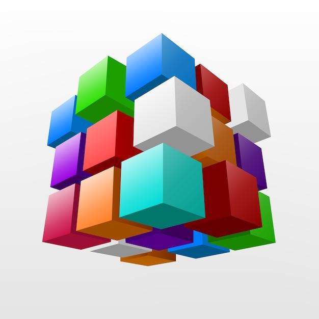 Абстрактный красочный кусок куба векторная иллюстрация Premium векторы