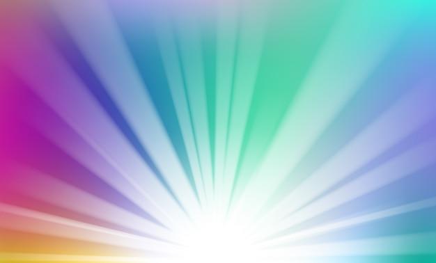 地平線の背景から上昇するカラフルな光 Premiumベクター