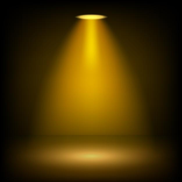 透明な背景に輝くゴールデンスポットライト Premiumベクター