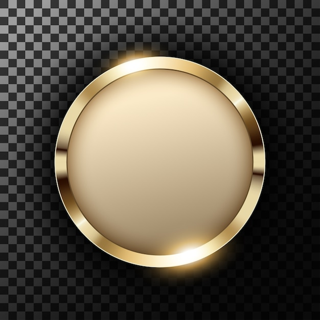透明なテクスチャ上にテキストスペースを持つメタリックゴールドリング Premiumベクター