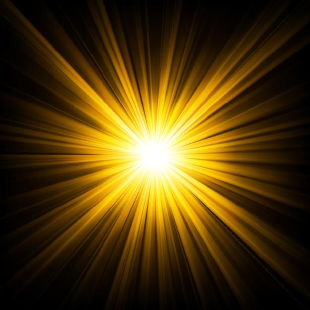 暗闇の背景から輝く金色の光 Premiumベクター
