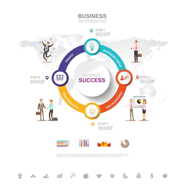ビジネスインフォグラフィックグラフでビジネス成功のコンセプト Premiumベクター