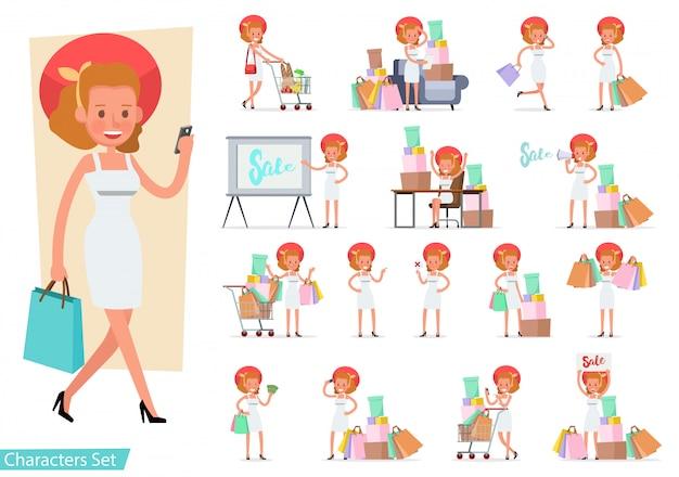 ショッピング女性キャラクターのセット。 Premiumベクター