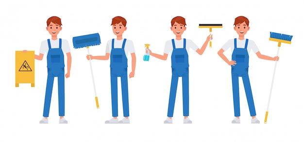 清掃スタッフのキャラクターセット Premiumベクター