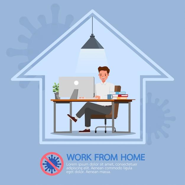 在宅勤務の男性、コロナウイルス、社会的距離概念のキャラクターデザインをやめる Premiumベクター