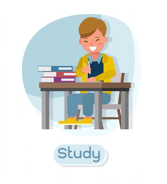 子供のキャラクター。さまざまなアクションでのプレゼンテーションと、感情と研究。 Premiumベクター