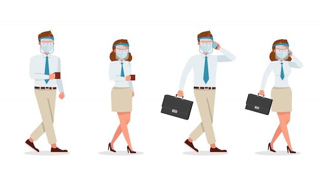 医療マスクと顔シールドのキャラクターを身に着けているビジネスマンの人々。さまざまなアクションでのプレゼンテーション。新しい通常の生活。 Premiumベクター