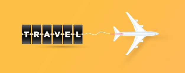タイムテーブルボードスタイルの飛行機の「旅行」テキスト。ベクター Premiumベクター