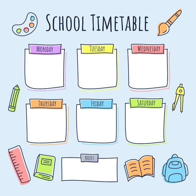 色付きの線のアイコンと学校の時間割 Premiumベクター