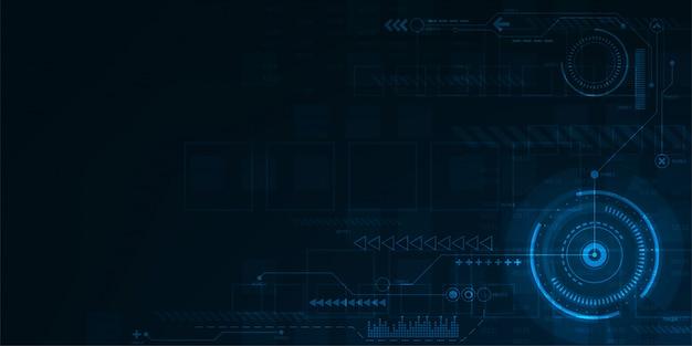 Цифровой рабочий интерфейс на синем фоне. Premium векторы
