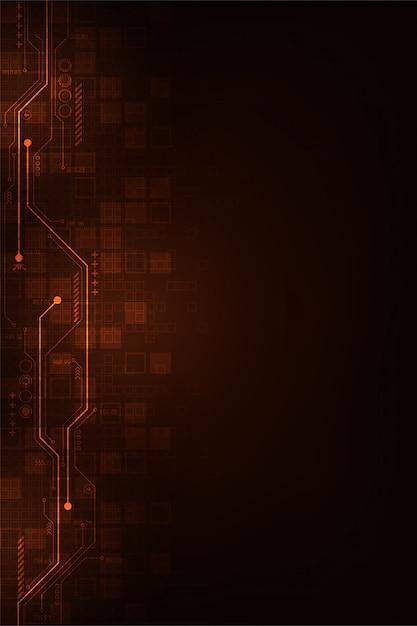 Цифровой дизайн цепи на темно-оранжевом фоне. Premium векторы