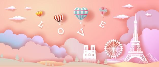 Воздушные шары любви и сердца с эйфелевой башней во франции. Premium векторы