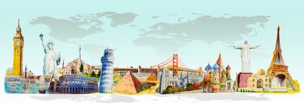 ランドマーク建築世界を旅します。 Premiumベクター
