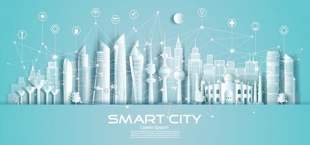 クウェートの無線技術ネットワーク通信スマートシティとアイコン。 Premiumベクター