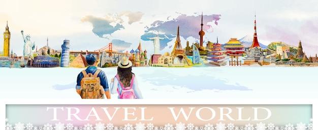 絵画のランドマーク世界旅行人気建築都市。 Premiumベクター