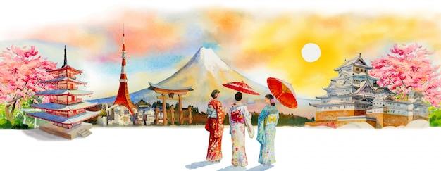 アジアの日本の有名なランドマークを旅行します。 Premiumベクター