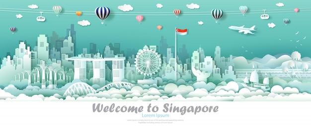 シンガポールの国旗とベクトルイラストツアーダウンタウンシンガポール。 Premiumベクター