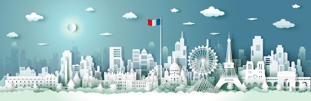 日の出と日没でフランスの建築を旅行します。 Premiumベクター