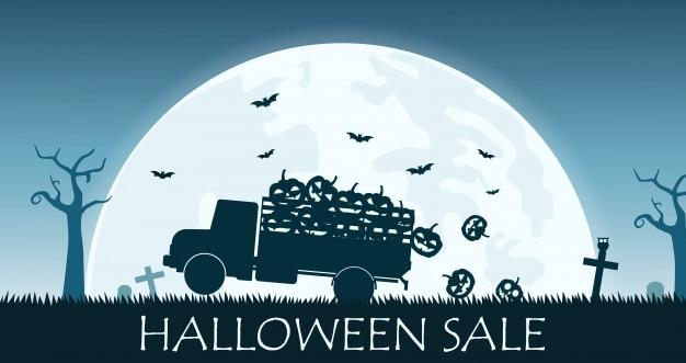 トラックとハロウィンの販売のバナーは、カボチャを運ぶ Premiumベクター