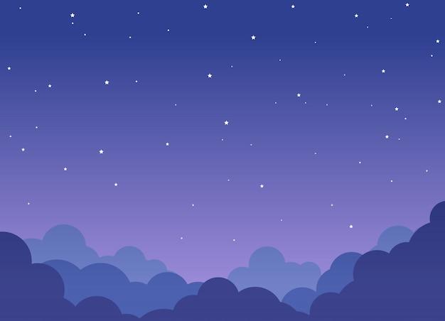 輝く星と夜の曇り空の背景 Premiumベクター