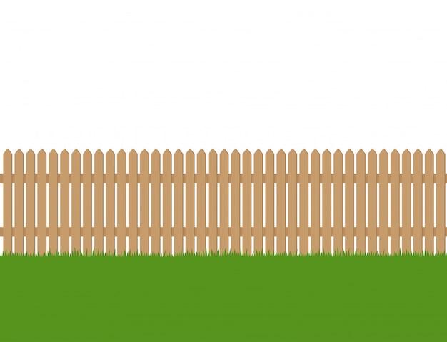 木の塀と緑の芝生のシームレスです Premiumベクター