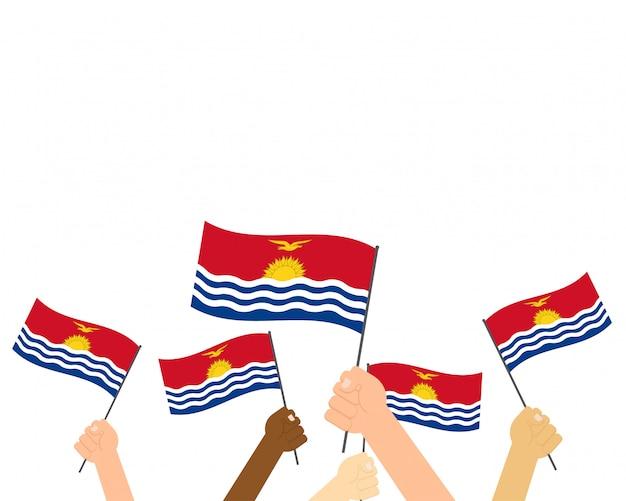 両手キリバスの国旗 Premiumベクター