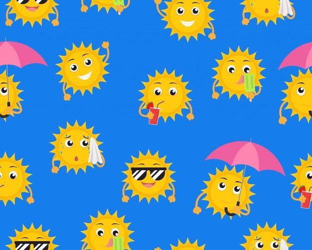 別のポーズで漫画太陽マスコットのシームレスパターン Premiumベクター
