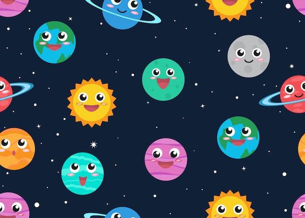 Бесшовные шаблон милый мультфильм планет в космическом фоне Premium векторы