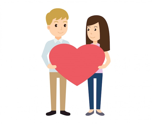 Пара в любви держит форму сердца на день святого валентина Premium векторы