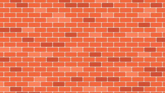 赤またはオレンジのレンガの壁の背景 Premiumベクター