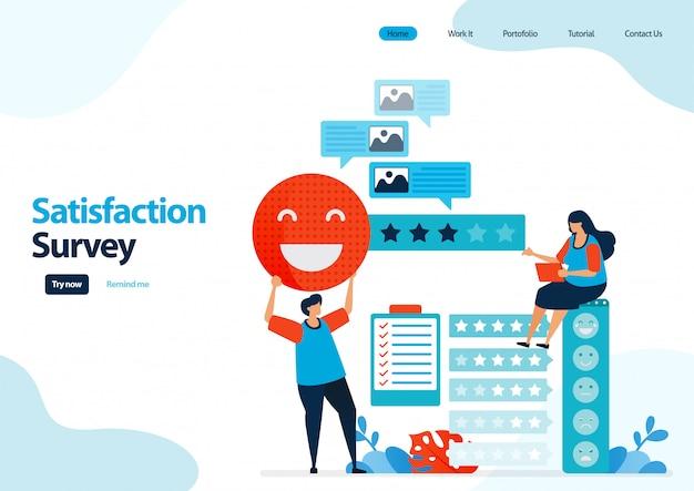 Шаблон целевой страницы смайликов удовлетворенности. рейтинг обратной связи и звездочек для сервисов приложений. Premium векторы