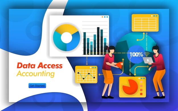 会計データへのアクセスと管理における接続性 Premiumベクター