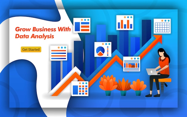データ分析による成長事業の矢印デザイン Premiumベクター