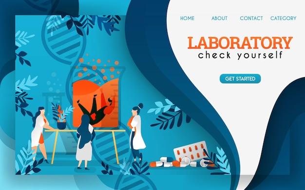 実験室の科学者たちは保存されている人間を研究し、調べています。フラット漫画のベクトル図 Premiumベクター