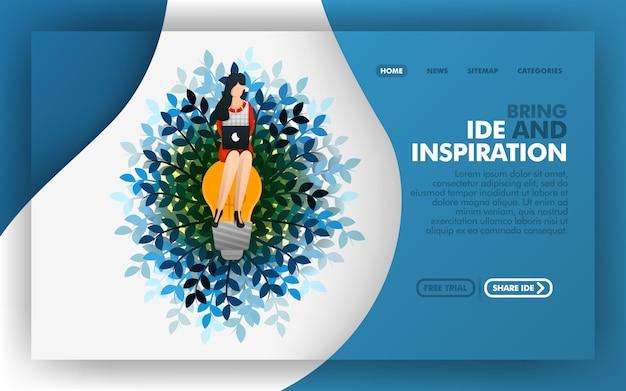 インスピレーションとアイデアをもたらすの着陸ページ Premiumベクター