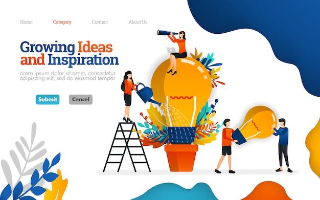 ランディングページのテンプレート。ビジネスのための成長するアイデアそしてインスピレーション。チームワークベクトル図の概念 Premiumベクター