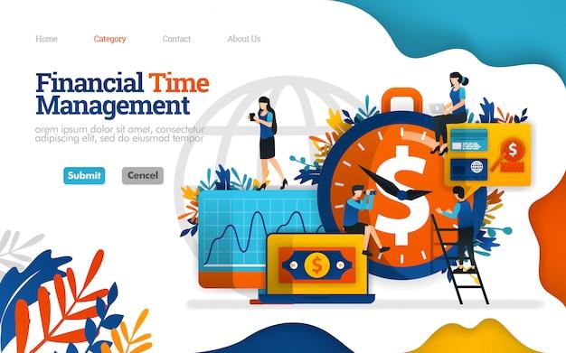 ランディングページのテンプレート。財務時間管理最高の投資パートナーは時間です。ベクトルイラスト Premiumベクター
