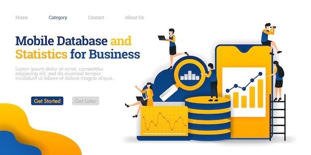 ランディングページのテンプレート。モバイルデータベースとビジネス統計、クラウドデータベースにさまざまなデータを収集 Premiumベクター