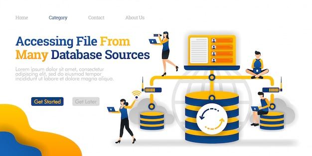 ランディングページのテンプレート。多くのデータベースソースからファイルにアクセスしています。データベースとパーソナルデバイス間の通信 Premiumベクター