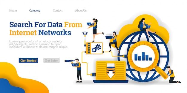 ランディングページのテンプレート。インターネットネットワークからデータを検索します。データ検索結果を分析してデータベースに保存する Premiumベクター