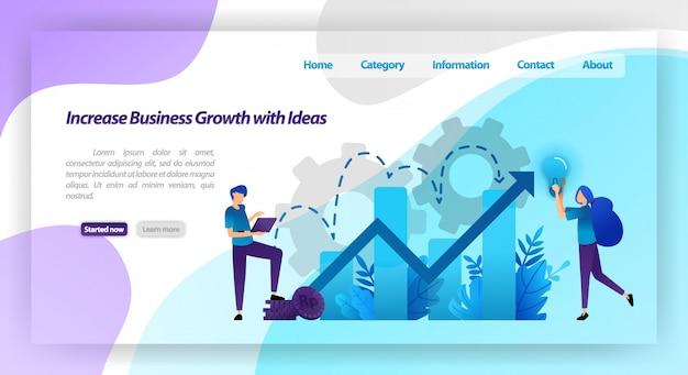 Увеличить рост бизнеса с идеей. финансовая диаграмма для увеличения стоимости компании и опыта в бизнесе. веб-шаблон целевой страницы Premium векторы