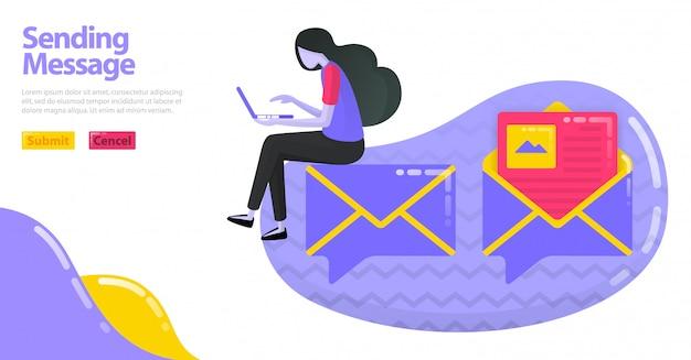 メッセージ送信の図。イメージマップまたは封筒のバルーンチャットアイコン。電子メールを開いて読む。 Premiumベクター