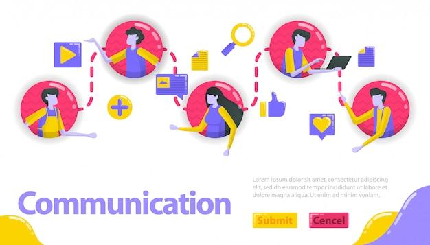コミュニケーションの図。人々はコミュニケーションとコミュニティラインで互いにつながっています。 Premiumベクター