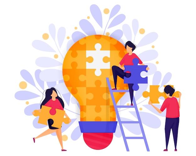 Командная работа в бизнесе, чтобы решить головоломки, чтобы найти идеи. Premium векторы