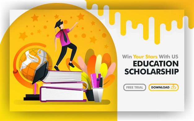 ベクトルのウェブサイトオンライン教育奨学金 Premiumベクター