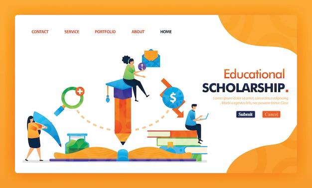 Образовательные стипендии целевой страницы желтый вектор концепции. Premium векторы
