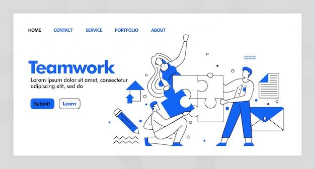 Дизайн коллективной работы для бизнес-страницы с плоской мультфильм. Premium векторы